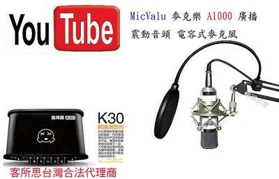 非一般小振膜 要買就買中振膜  A1000電容麥克風+客所思 K30+NB35懸臂支架+防噴網送166音效