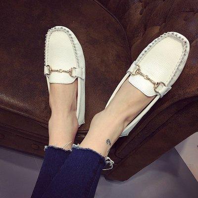 =WHITY=韓國FUPA品牌 韓國製  學院風真皮四季百搭低跟鞋設計師新款豆豆鞋柔軟自留S7CBB24