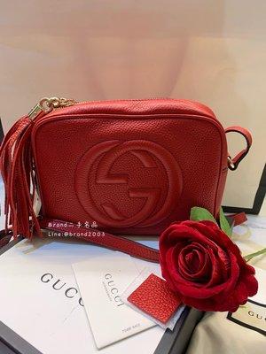【Brand二手名品】Gucci Soho Disco 紅色流蘇 牛皮 斜背包 側背包 98新