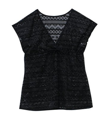 【M9490】梅林泳裝2020新品~大女黑色V字綁帶網布罩衫