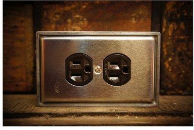 【燈聚台灣大道352】工業風 不鏽鋼 復古 白鐵 開關 插座 電料 蓋板 面板 圓座三孔雙插(咖啡色)+鋁盒乙只