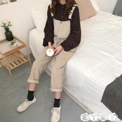 背带裤 女裝春裝韓版復古寬鬆燈芯絨背帶褲學生休閒吊帶連體褲子