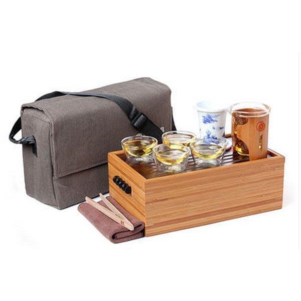 5Cgo【茗道】含稅會員有優惠  36238542788 便攜式旅遊旅行茶具套裝玻璃茶杯茶壺功夫茶海茶盤整套戶外泡茶組