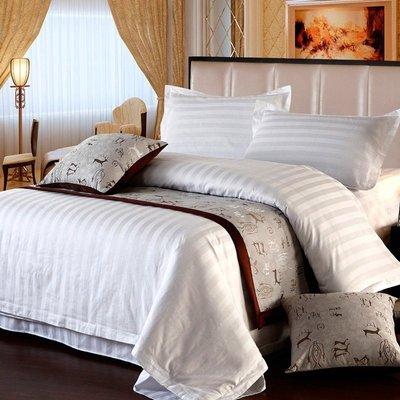 居家家飾設計 飯店 民宿寢具系列-3cm條紋布/白-雙人被套-尺寸180*210cm-適用6尺*6.2尺被胎