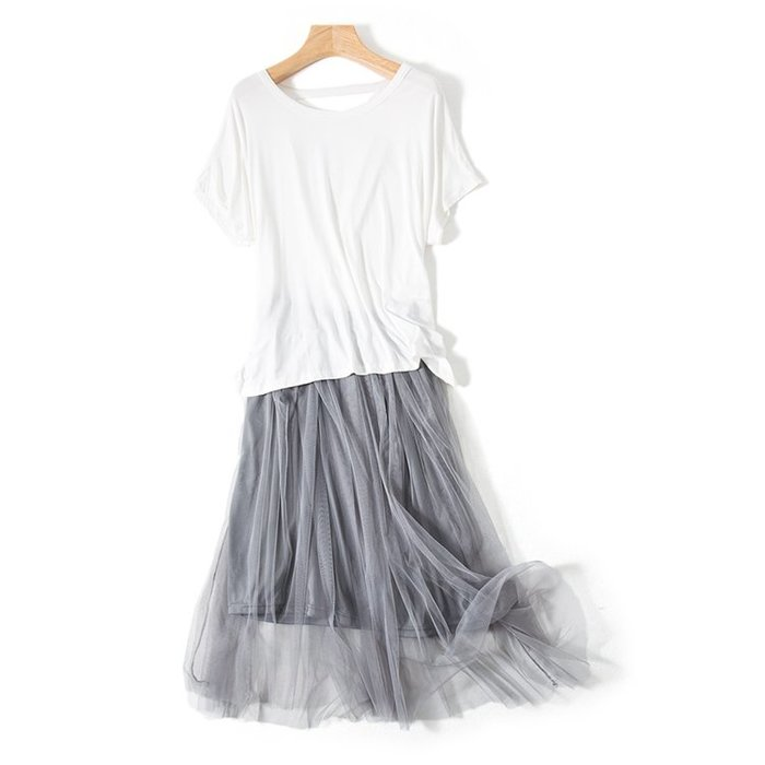 A164 專櫃柔軟2層網紗拼接鬆緊腰修身顯瘦百褶裙蛋糕裙