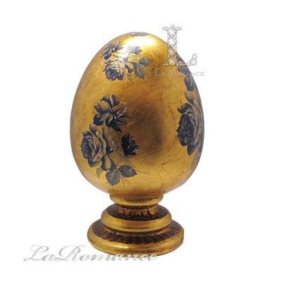 【芮洛蔓 La Romance】皇室藍玫瑰金箔蛋型擺飾 (大) / 擺件 / 擺飾 / 送禮