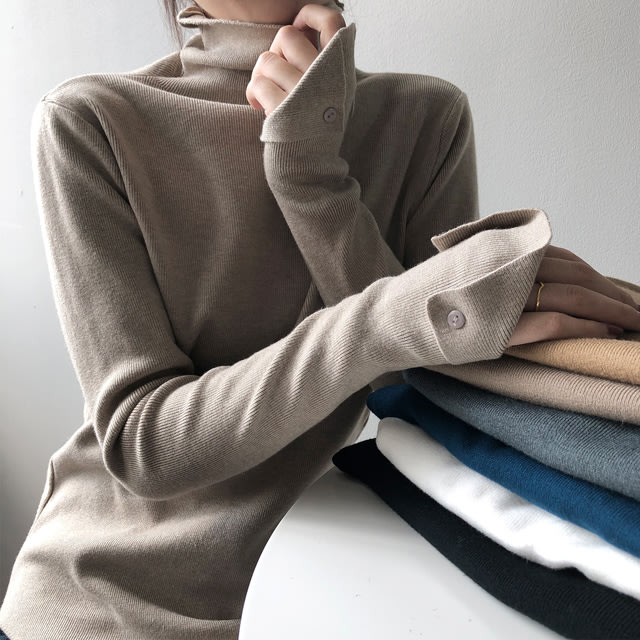 【T12966】1A11袖口反摺針織衫7色F.預購。小野千尋