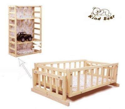 「三季旗艦店 嬰兒床童床獨立小搖籃搖床實木寶寶BB床新生嬰兒床無漆環保變立櫃含蚊帳+席子471」