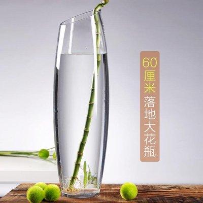 特大號富貴竹花瓶玻璃透明落地大號插花水培銀柳水竹50厘米60cm高 全館免運