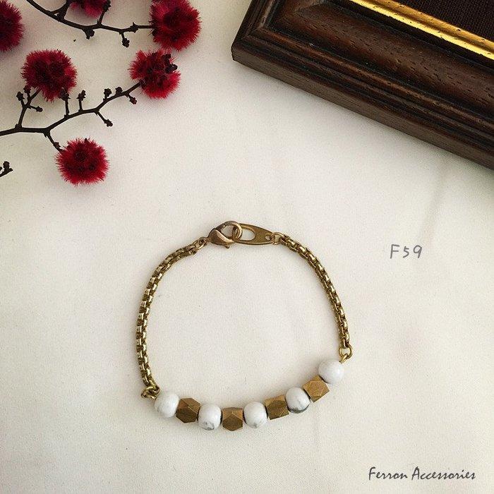 Ferron Accessories 琺隆 F59    白紋石黃銅手鍊