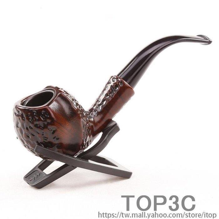 老式黃銅復古過濾彎式煙絲石楠木煙袋鍋煙嘴光面男士實木加長煙斗