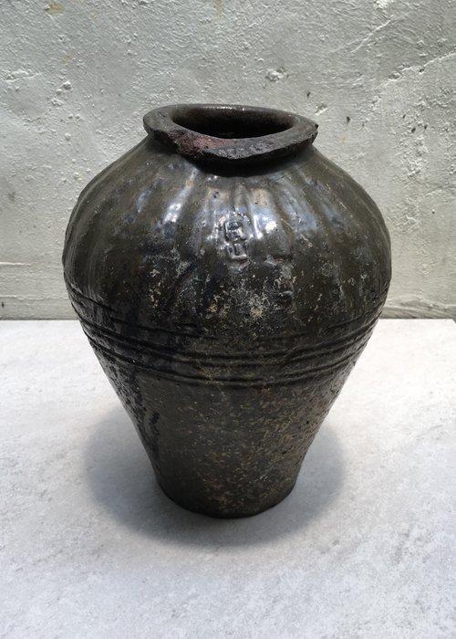 日據時期 老甕 陶甕 有款 有裂
