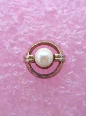 【戴大花2】Vintage古董飾品-經典【SWANK】品牌 圓形金邊鑲天然珍珠 領帶 領口別針 #G58