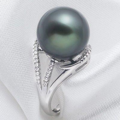 乾一時尚百搭貴氣黑色母貝珠珍珠戒指 925純銀防過敏戒圈夸張女士戒子