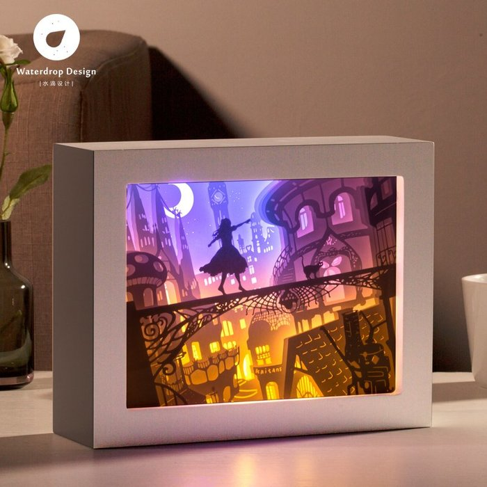 解憂zakka~ 光影紙雕燈 魔法貓 剪紙3diy手工材料包創意禮物立體抖音同款臺燈#禮物#紙雕燈
