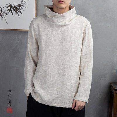 復古風男裝春季民族風長袖棉新麻T恤佛系高領亞麻新提花中國風上衣男