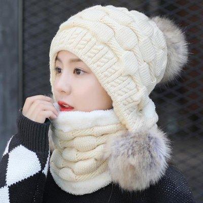 日和生活館 帽子女冬季日韓百搭加絨加厚毛線帽保暖護耳冬帽大毛球針織帽休閒S686