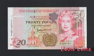 【Louis Coins】B863-GUERNSEY-1996根西島紙幣,20 Pound