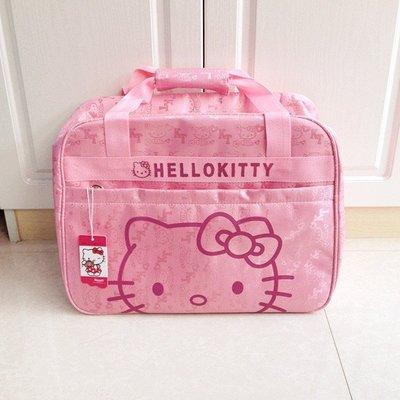 新品hello kitty短途旅行包 可愛KT貓行李袋旅行袋卡通刺繡手提包