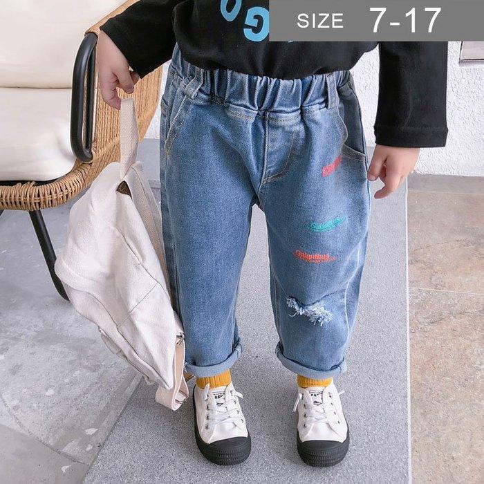 韓版男女童牛仔褲。ROUROU童裝。春秋男女童彈力字母印花牛仔褲 長褲 0332-444