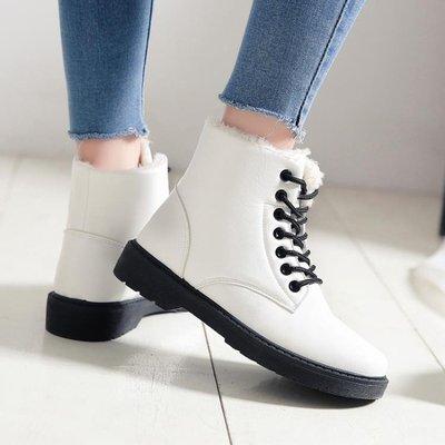 秋冬季新款韓版皮面棉鞋學生冬鞋馬丁短靴百搭加絨雪地女鞋潮