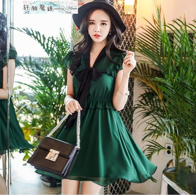 短袖洋裝霓深綠色拼接黑色飄帶蝴蝶結收腰...