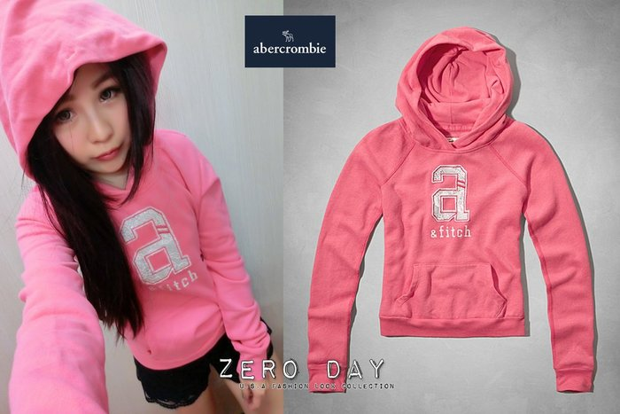 a&f abercrombie&fitch kids girl shine lace logo hoodie亮蕾絲粉帽T