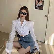 FQ3韓國專櫃休閒西裝領白色襯衫女裝秋季設計感小眾長袖襯衣外套短款外搭上衣