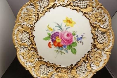 德國名瓷麥森Meissen 重金24K金邊  花卉畫盤 一級典藏品 歡迎提問詢價