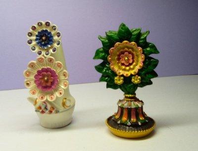 @居士林@藏傳八供品-彩繪朵瑪+食子花(樹脂材質)尺寸:高7.5公分