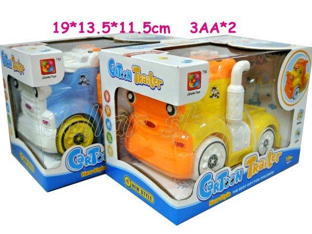 寶貝玩具屋二館☆【Q版拖車頭聲光音樂慣性車】一台可以在地上推滑的音樂車(慣性拖車頭)☆【車車】