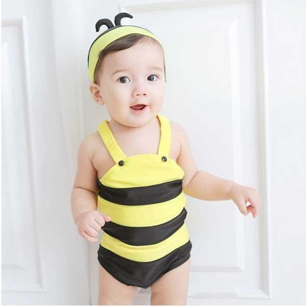 5Cgo【鴿樓】會員有優惠  44278008710 可愛小蜜蜂兒童連體泳衣嬰兒男童女童游泳衣寶寶幼兒泳裝溫泉泳裝