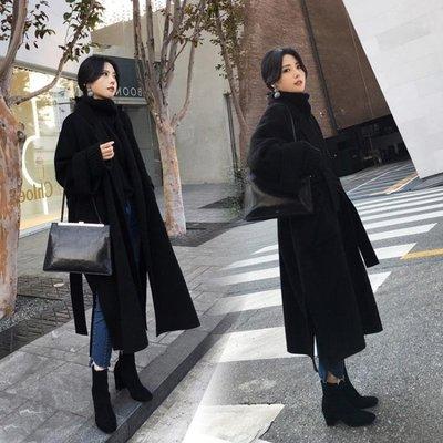 黑色毛呢外套女冬季超長款過膝系帶廓形雙面羊絨手工羊毛呢子大衣