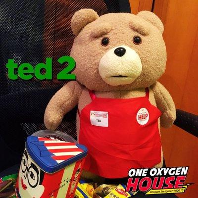 美國 100%正版 電影 熊麻吉 TED 泰迪 超大 高46公分 圍裙款 店員裝 TED2 玩偶 娃娃 絨毛玩具 公仔
