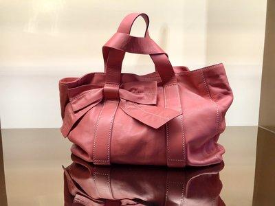 * ANDREA MABIANI * 義大利 粉色小羊皮 手提包 近全新