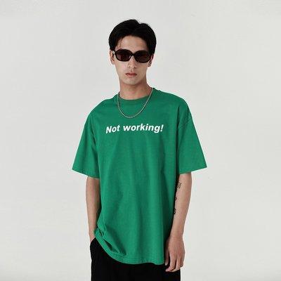 RISE潮牌男裝~Mentmate 21SS/NOT WORKING不想上班 復古原創T恤男 寬松百搭短袖