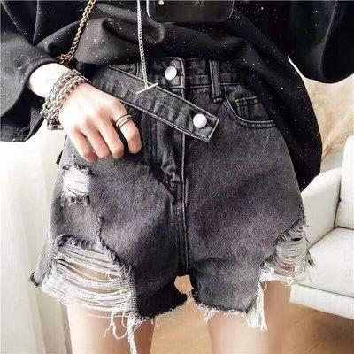 韓國新款顯瘦寬鬆高腰闊腿洗水破洞下擺不規則熱褲短褲