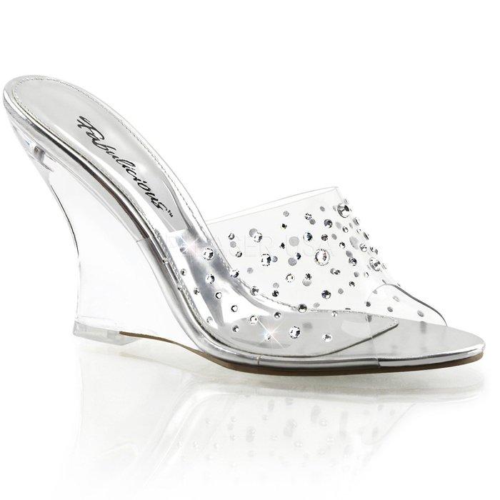 Shoes InStyle《四吋》美國品牌 FABULICIOUS 原廠正品水鑚透明楔型高跟拖鞋 出清『銀色』