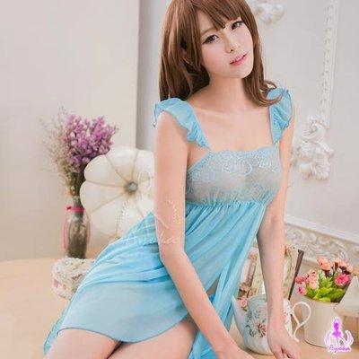 【惑☆夜東京】藍色柔紗雙層開襟二件式睡衣