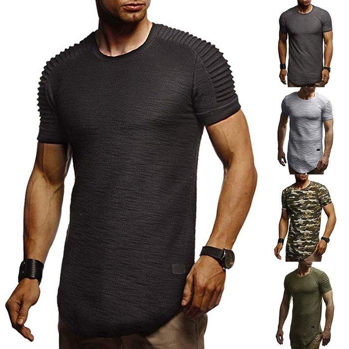 『潮范』  N4 歐碼新款純色拼皮不規則肩部褶皺短袖T恤 迷彩圖案T恤 撞色T恤