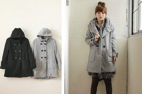 黑色 長版大衣 外套 超保暖 里琪 TWOTWO 轉賣