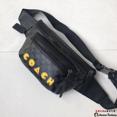 美國大媽代購COACH 72924 黑灰配黑色 小精靈 PVC配皮革 單肩胸前包/腰包 男包  美國代購