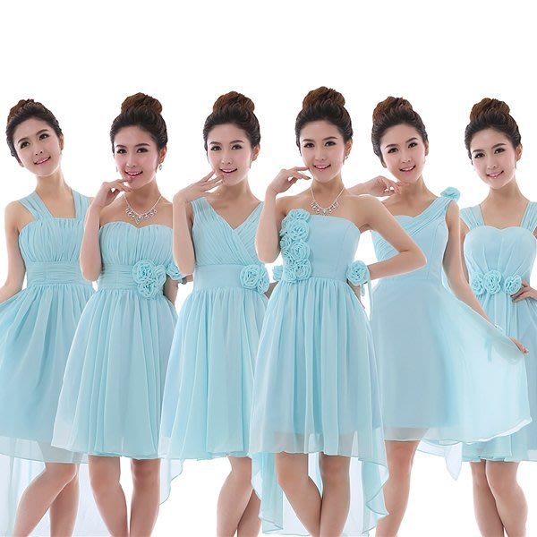 5Cgo【鴿樓】會員有優惠 37827006936 韓版綁帶大碼藍色單肩伴娘禮服伴娘團短款伴娘服小禮服 新娘伴娘禮服
