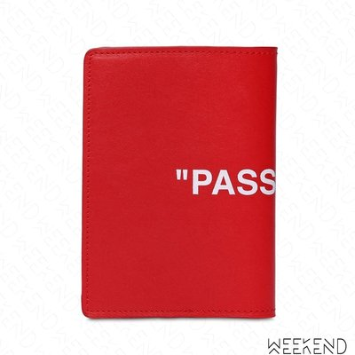 【WEEKEND】 OFF WHITE Quote Passport 皮革 長夾 護照夾 紅色 18秋冬