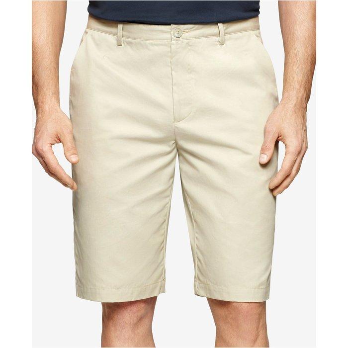 美國百分百【全新真品】Calvin Klein 短褲 CK 休閒褲 大尺碼 褲子 色褲 五分褲 素色 淺卡其 G521