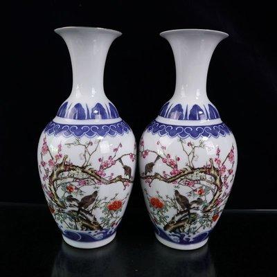 仙記銀坊復古中式精品陶瓷器仿古青花瓷花瓶喜上眉梢古典風裝飾擺件一對價