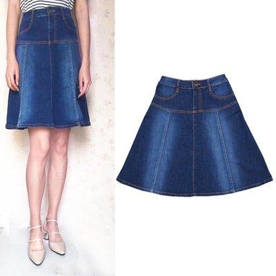 夏季新款顯瘦中長款半身裙復古A字傘裙子女高腰薄牛仔裙裙子