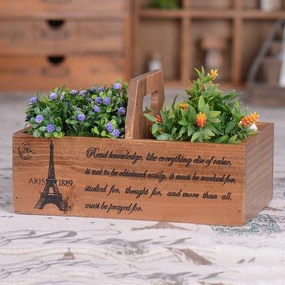 雜貨 歐美鄉村風懷舊復古手提造型收納2格木盒 巴黎鐵塔圖裝飾桌面小物整理二格箱盒 木製佈置物盒 擺飾禮物客廳咖啡質感木箱