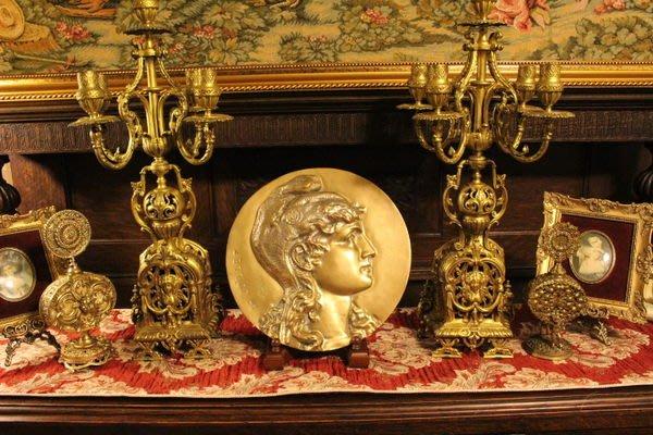 【家與收藏】特價稀有珍藏歐洲古董法國國慶14 juillet 法國自由女神Marianne浮雕紀念大銅雕盤