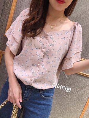 小艾莉-韓版-氣質小方領兩層袖花花衫-D042804